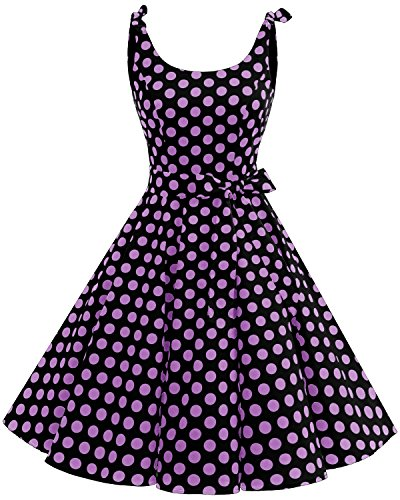 Bbonlinedress Vestidos de 1950 Estampado Vintage Retro Cóctel Rockabilly con Lazo Black Purple Bdot