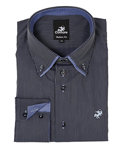 CULTURE Herren Hemd Langarm Shirt Business Casual Style mit Button-Down Kragen dunkelblau gestreift 512828-38 Modern Fit