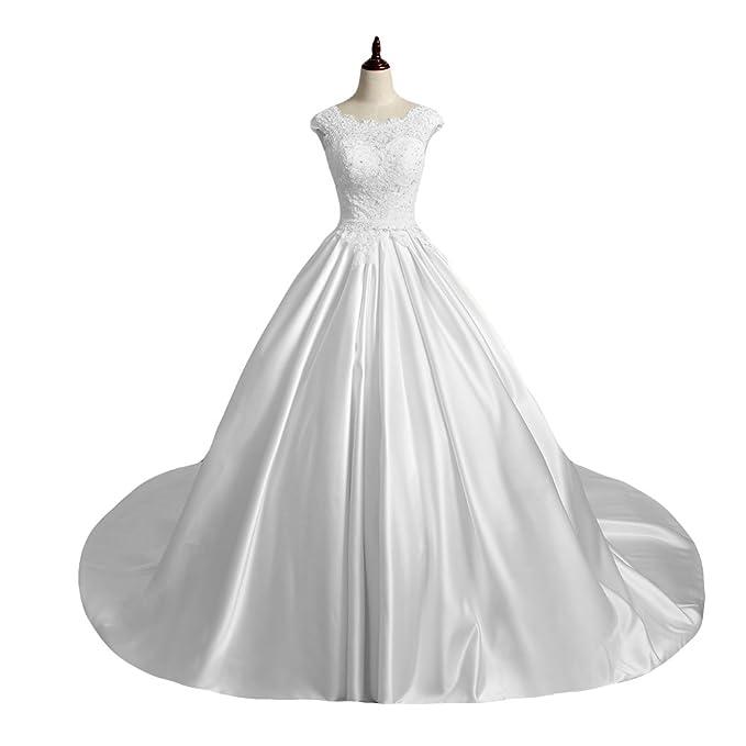 Jojobridal Womens Satin Weddding Bridal Dresses Ball Gown Train