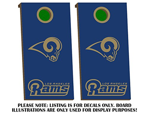 Los Angeles Rams Cornhole Lodge Decals - Fit for Bean Bag Toss Outdoor Game Sticker Set - Die Cut - Novelty Decals