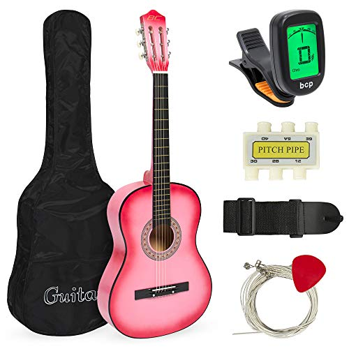 Best Choice Products 38in Beginner Acoustic Guitar Starter Kit w/ Case, Strap, Digital E-Tuner, Pick, Pitch Pipe, Strings - Pink