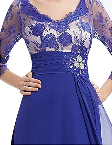 Lace Wedding Blue V Neck 4 Sleeve Dress Gown Party BOwith Sheer 3 Party Evening wqgfIwOv