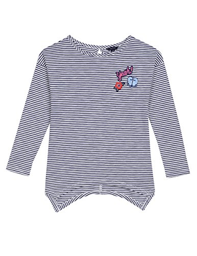 Nautica Little Girls' Stripe Top With Chambray Back Detail, Stripe Cream, 6