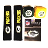 Green Bay Packers Ultimate Fan Car Vehicle Seatbelt Pads, Fuzzy Dice & Chrome Emblem 3-Piece Gift Pack Set