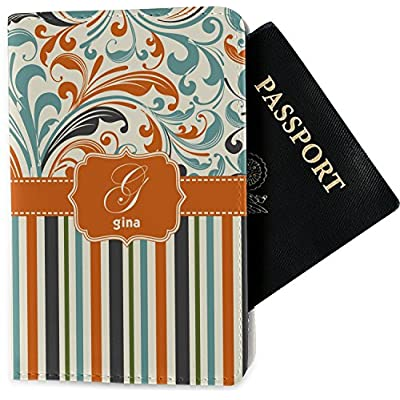 Orange Blue Swirls & Stripes Passport Holder (Personalized) 60%OFF