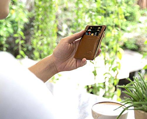 Lethnic Men's Minimalist RFID Front Pocket Slim Wallet - Business Card Holder Wallet - Safe Wallet For Travel - Best gift for Men - Genuine Leather (Dark Brown) Photo #5