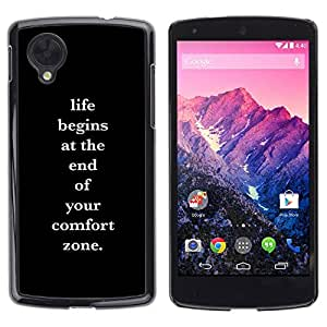 Paccase / SLIM PC / Aliminium Casa Carcasa Funda Case Cover para - comfort zone life motivational poster - LG Google Nexus 5 D820 D821