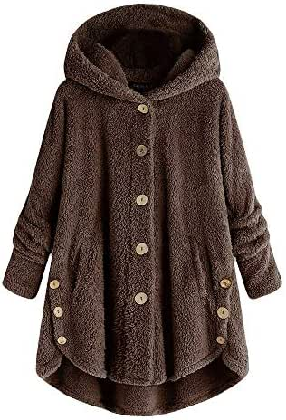 Fashion Overcoat for Women Plus Size Button Coat Fluffy Tail Tops Hooded Pullover Loose Sweater Slouchy Tunic
