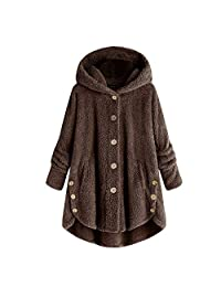 Pervobs Women Soft Coat Button-Down Fluffy Tail Hooded Pullover Loose Sweatershirt