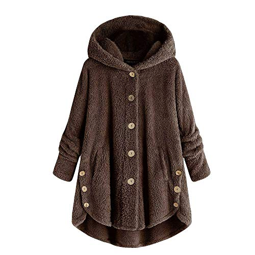 COPPEN Women Coat Button Fluffy Tail Tops Hooded Pullover Loose Sweater Coffee