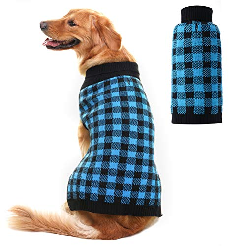 PUPTECK Dog Sweater Plaid Pet Cat Winter Knitwear Warm Clothes Blue & Black Large ()