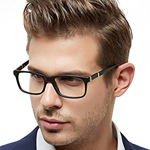 OCCI CHIARI Mens Rectangle Stylish Optical Eyewear Frame Metal Decoration Clear Lens Glasses Father's Day Gift(Black,54)