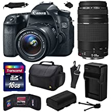 Canon EOS 70D Digital SLR Camera with 18-55mm STM and EF 75-300mm f/4-5.6 III Lens includes 16GB Memory + Large Case + Extra Battery + Travel Charger + Memory Card Wallet + Cleaning Kit (16GB Value