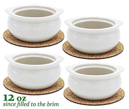 Real 12 Ounce - White Porcelain Onion Soup Crock Bowls Set of 4 (In Porcelain Oven Bowl)