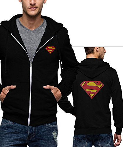 Superman Outfit For Men (Men Superman Shield Logo Zip Hoodie Sweatshirt | Black, XL)