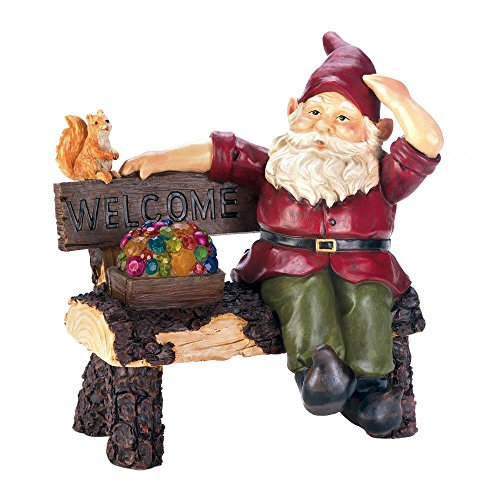 - Smart Living Company 10018198 Solar Gnome On Welcome Bench, Brown