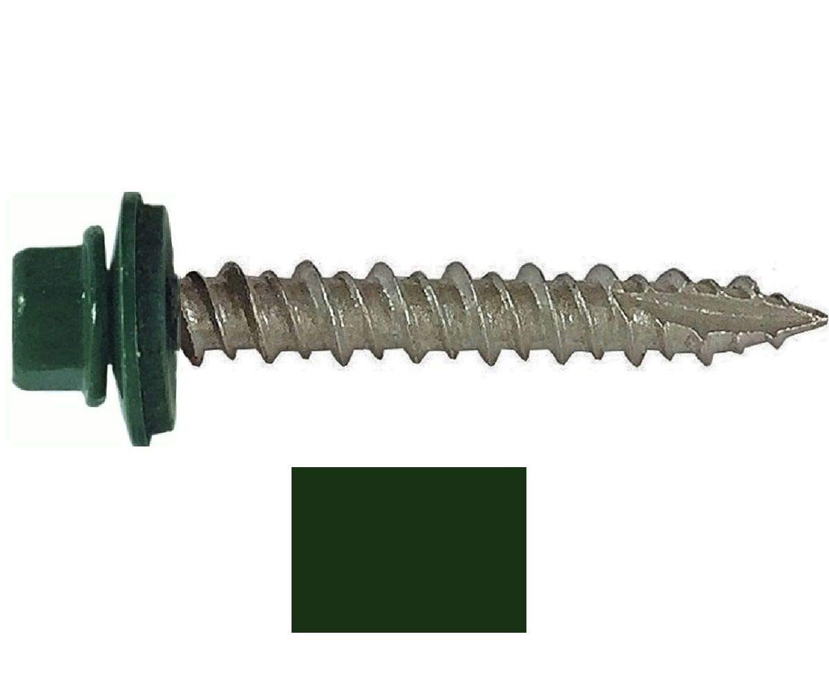 250 Sheet Metal ROOFING SCREWS: #10 IVY GREEN/FOREST GREEN 1-1/2'' Hex Washer Head Metal Roof Screw. Self starting/self tapping metal to wood, sheet metal roofing, siding screws with EPDM washer seal. Roof screw w/painted heads. For corrugated roofing by Metal Roofing Screws