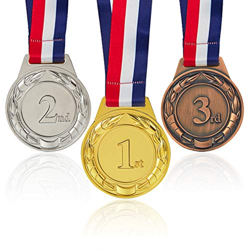 Sport Medal Award Set, 1st, 2nd 3rd Places Gold, Silver, Bronze Well-crafted Award Medal for Events, Sports meetings, Winter Camps, Marathon, Universal Competitions or any Contents, Heavy Duty Winner