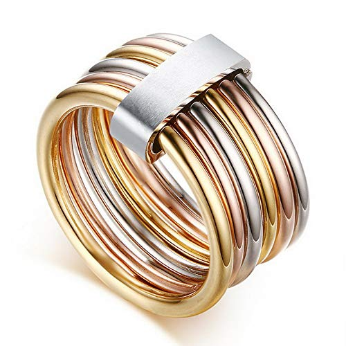 Tomikko Fashion Trendy Men Womens Stainless Steel 18K Gold/Mixcolor Rings Size 6/7/8/9 | Model RNG - 24749 | 6