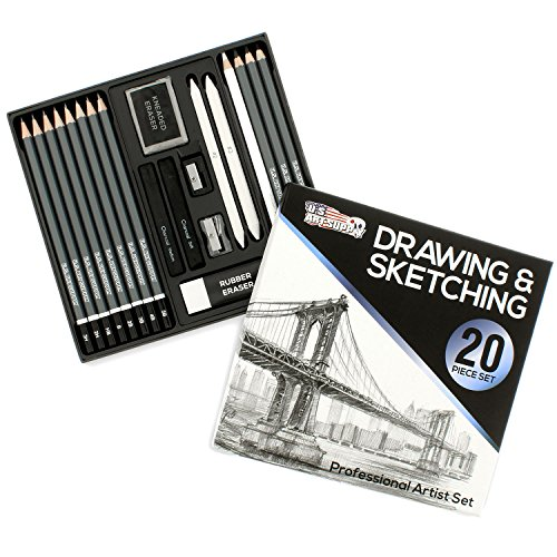 U.S. Art Supply 20 Piece Professional Hi-Quality Artist Sketch Set in Hard Storage Case - Sketch & Charcoal Pencils, Pastel, Stumps, Eraser, Sharpeners