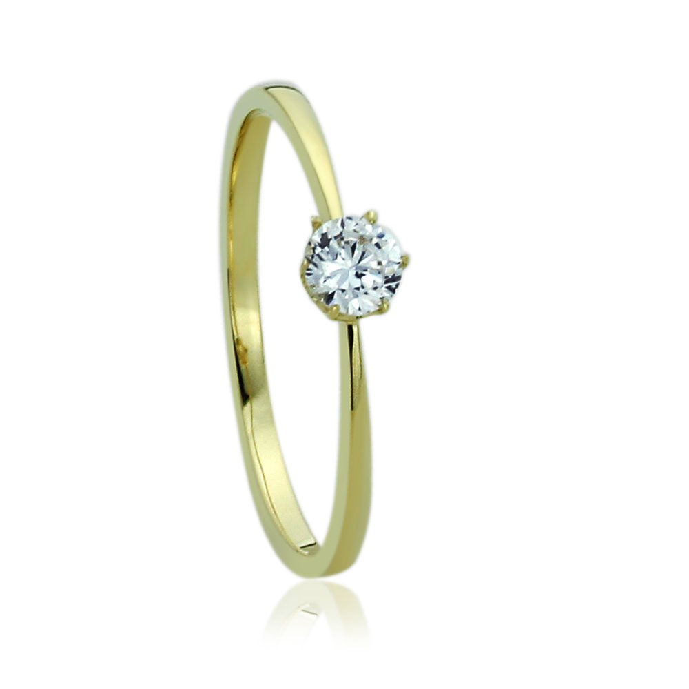 14K Yellow Gold Engagement Ring CZ Round Solitaire Ring -Size: 8