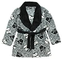 Disney Star Wars Boys Plush Fleece Bath Robe Gray and Black