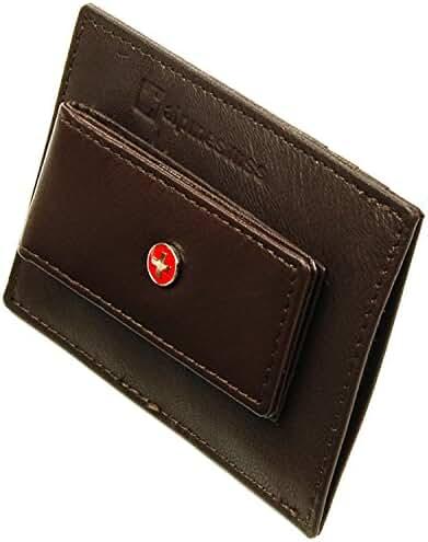 Alpine Swiss Men's Top Grain Leather Slim Line Money Clip Wallet