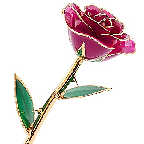 ZJchao Purple Gold Rose, Gifts for Her Flower Dipped in 24k and Last Forever, Love Gift to Mom Valentine Gifts for Women
