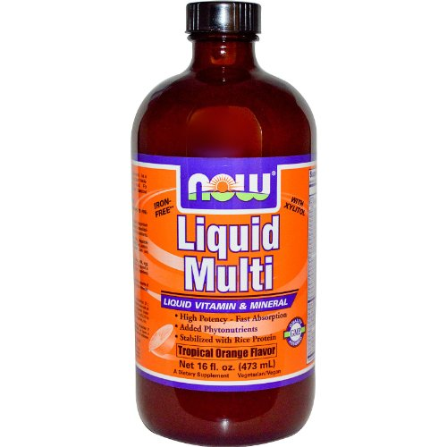 (NOW Foods - Liquid Multi Liquid Vitamin & Mineral - Iron Free with Xylitol Tropical Orange Flavor - 16 oz.)