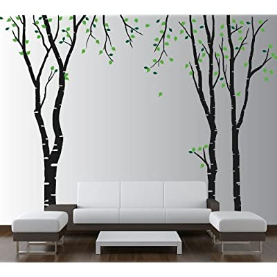 "Innovative Stencils Large Wall Birch Tree Decal Forest Kids Vinyl Sticker Removable with Leaves Branches #1119 (108"" (9ft) Tall, Black Trees - Green Leaves): Home & Kitchen"