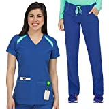 Med Couture Activate Color Block Top & Pant Scrub Set + Free Gift
