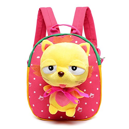 Sunny World Adorable Foxes Cartoon Schoolbag Nursery Small Backpack Rucksack Bag for Kindergarten Baby Kids Child (1-3yrs) (Watermelon red)
