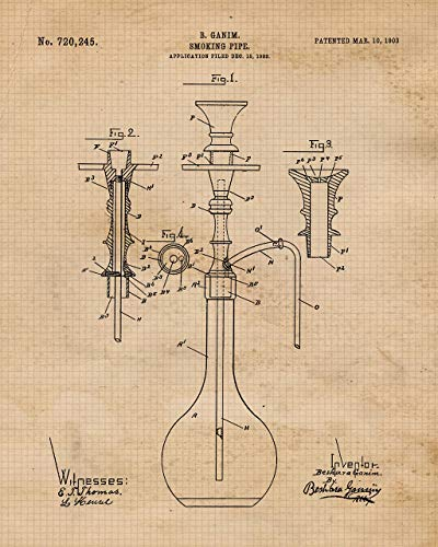 Original Hookah Patent Art Poster Print- Set of 1 (One 8x10) Unframed Photos- Great Wall Art Decor Gifts under $10 for Home, Office, Garage, Man Cave, Student, Teacher, Smoker, Fan (Best Bongs In The World For Sale)