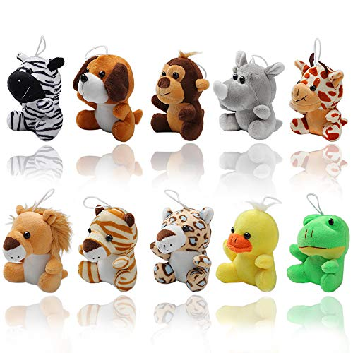 Small Stuffed Animals Set of 10 Soft Cute Plush Toys | Assortment of Jungle Farm Zoo Safari Animals: Stuffed Lion, Giraffe, Rhino, Zebra |Plush Keychains ● Fun Gift for Kids Party Favors Carnivals
