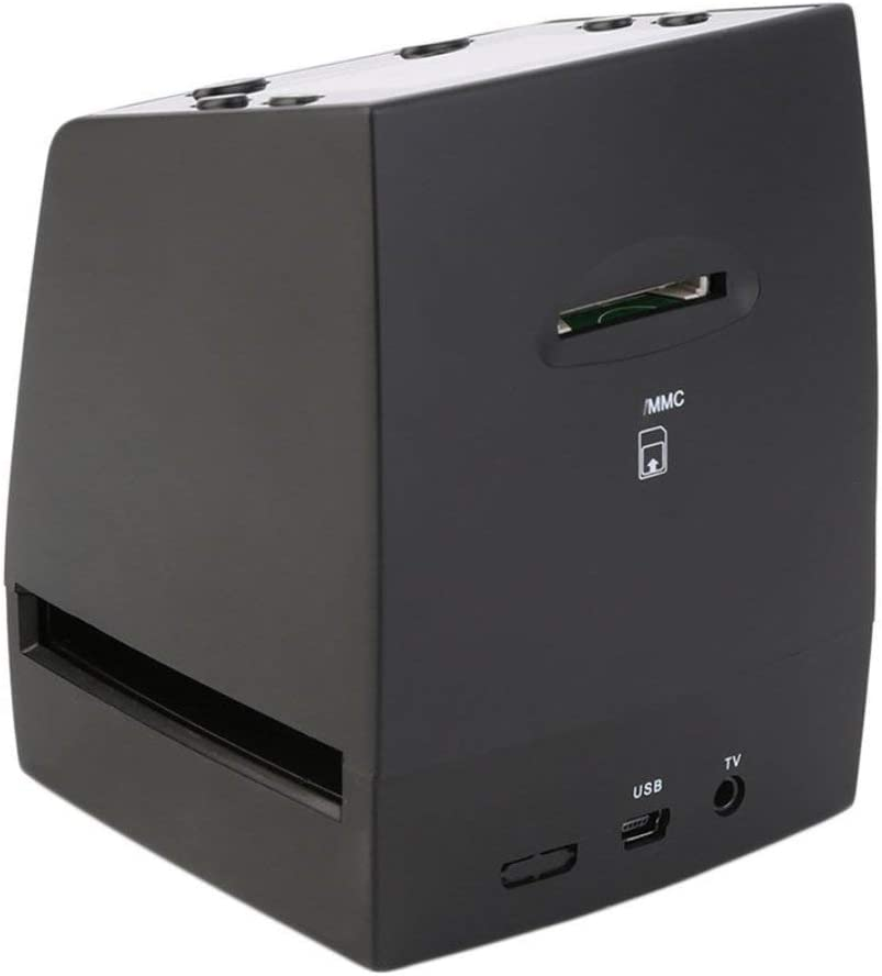 Esc/áner de Alta resoluci/ón Convierte Digital Diapositivas negativas USB Esc/áner fotogr/áfico Convertidor de pel/ícula Digital port/átil LCD de 2.4 Pulgadas Negro