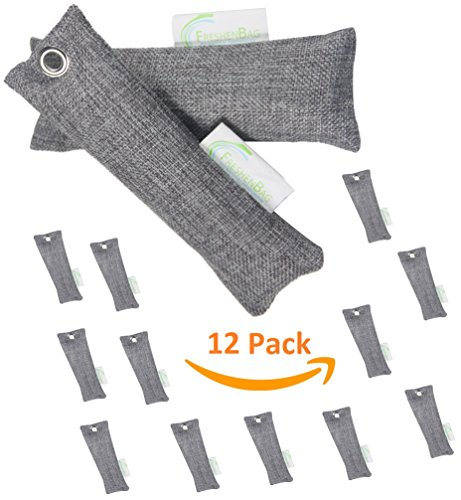 12 Pack - Freshenbag Natural Air Freshener - Eco Friendly Odor Eliminator, Moisture Absorber, Activated Bamboo Charcoal, Shoe Deodorizer, Car Deodorizer, Closet - Room Air Purifier - By OLIVIA & AIDEN