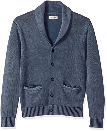 Goodthreads Men's Soft Cotton Shawl Cardigan Sweater, Washed Navy, Small