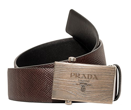 Prada Box Frame Engraved Buckle Saffiano Reversible Leather Belt