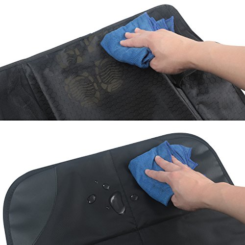 AOAFUN 1 Set Car Seat Protector&Kick Mat Auto Seat Back Protector,Extra Large Storage Pocket,Prevents Dirt and Damage-Allows Easy Access to Baby Items! (Black) by AOAFUN (Image #6)