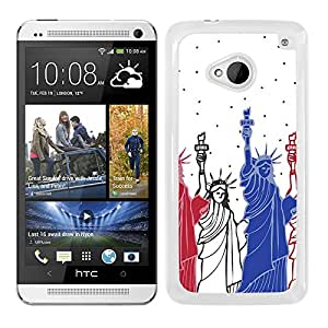 Funda carcasa para HTC M7 diseño New York estatua de la libertad borde blanco