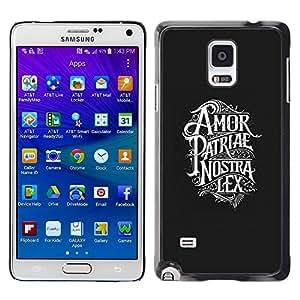 Cubierta protectora del caso de Shell Plástico || Samsung Galaxy Note 4 SM-N910 || Amor Patriae Nostra Lex Patriotic Text @XPTECH