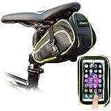 Ohuhu® Set Borsa da Sellino & Custodia Impermeabile Porta Cellulare con Supporto e Moschettone per Bici