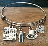 Inspirational Coffee Charm Bracelet for Friend or Student Review and Comparison
