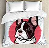 Animal Duvet Cover Set King Size by Ambesonne, Cute French Bulldog Artistic Portrait Hipster Purebred Creature Pet Illustration, Decorative 3 Piece Bedding Set with 2 Pillow Shams, Pink Brown