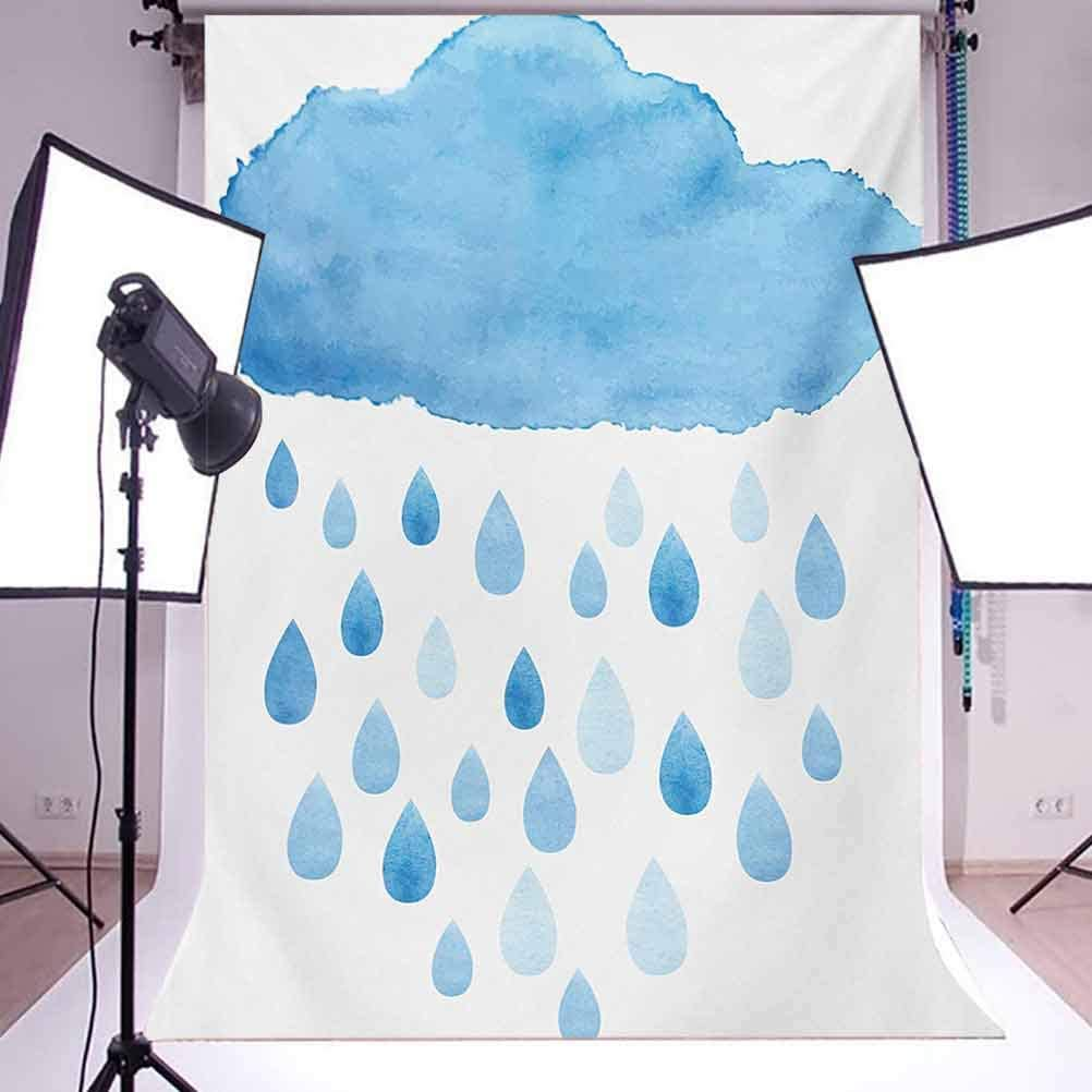 10x15 FT Backdrop Photographers,Rain Drops and Cloud in Watercolor Painting Effect Cute Nimbus Fun Art Illustration Background for Photography Kids Adult Photo Booth Video Shoot Vinyl Studio Props