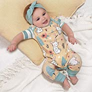 My First Easter Romper Baby Girls Unisex Newborn Jumpsuits with Newborn Headbands for Baby Girl Bunny Outfit B
