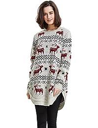 Women's Reindeer Snowflake Midi Christmas Pullover Sweater Jumper