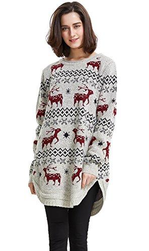 Shineflow Women's Reindeer Snowflake Midi Christmas Pullover Sweater Jumper (Beige, One -