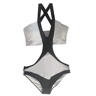 Amazon.com: Traje de baño para mujer de cintura alta, una ...