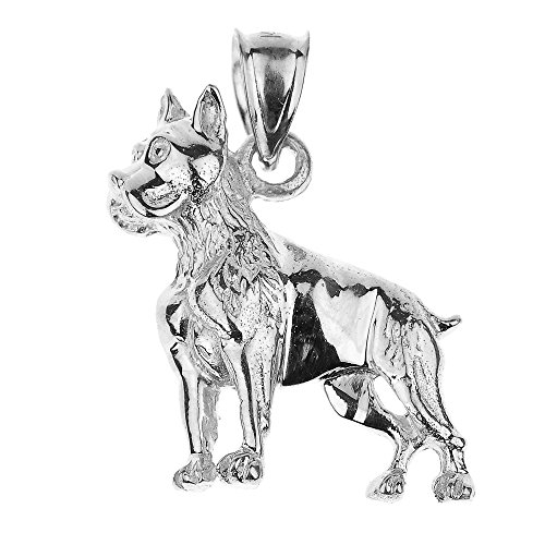 (Polished 925 Sterling Silver Boxer Dog Charm Pendant)